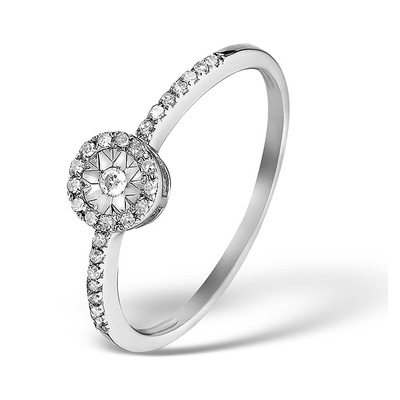 Halo Ring with 0.11ct of Diamonds set in 9K White Gold