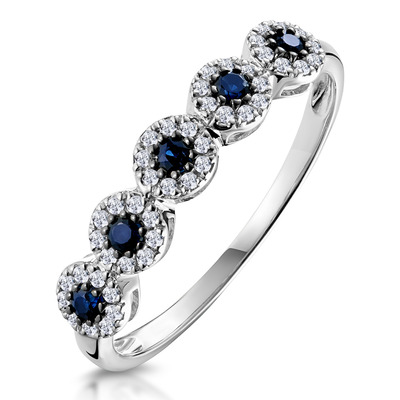 Sapphire and Halo Diamond Stellato Eternity Ring in 9K White Gold