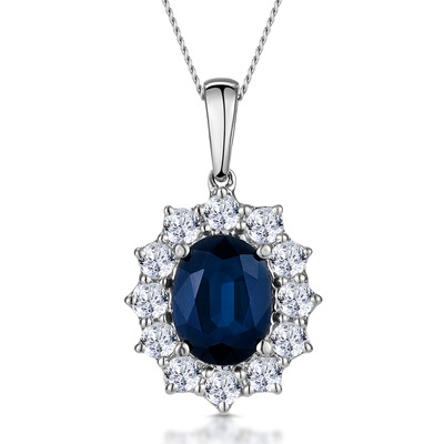 Sapphire and 0.75ct Diamond Necklace 18K White Gold Asteria Collection