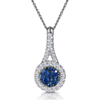 Sapphire and Diamond Halo Round Asteria Necklace 18KW Gold