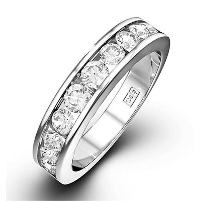 Rae Platinum Diamond Half Band Eternity Ring 1.00CT H/SI