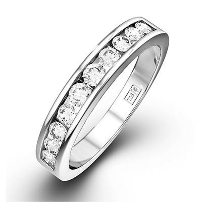 Rae Platinum Diamond Half Band Eternity Ring 0.50CT H/SI