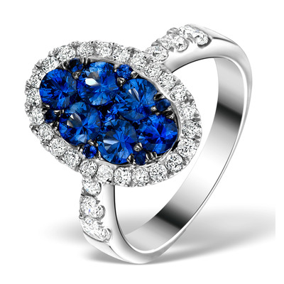 0.74ct Diamond 1.55ct Sapphire and 18K White Gold Cluster Ring