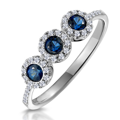 Sapphire and Diamond Halo Trilogy Asteria Ring in 18K White Gold