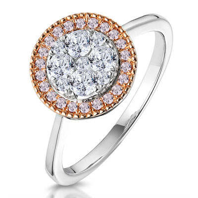 Diamond and Pink Diamond Circle Halo Ring in 18KW - Asteria Collection