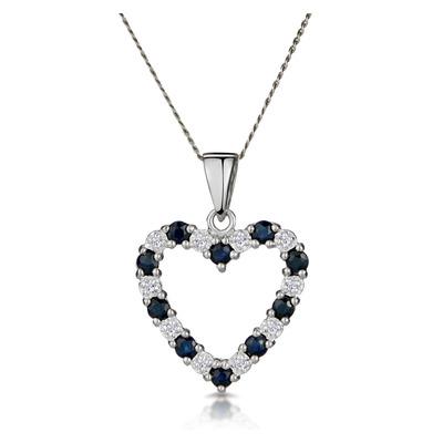 9K White Gold Diamond and Sapphire Pendant 0.03ct