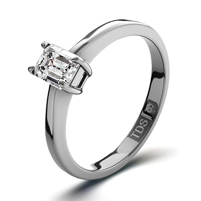 Diamond Engagement Ring Emerald Cut 18K White Gold 0.25CT-G-H/SI