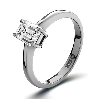 Certified Emerald Cut Platinum Diamond Engagement Ring 0.50CT-F-G/VS