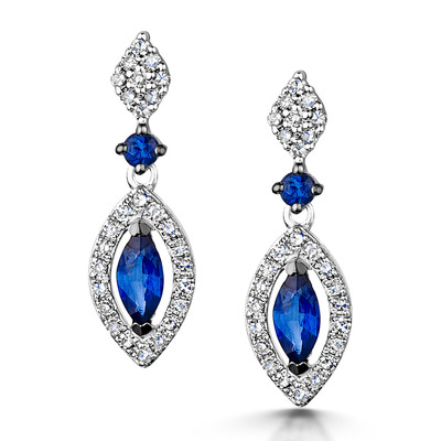 Stellato Collection Sapphire and Diamond Earrings 0.18ct 9K White Gold