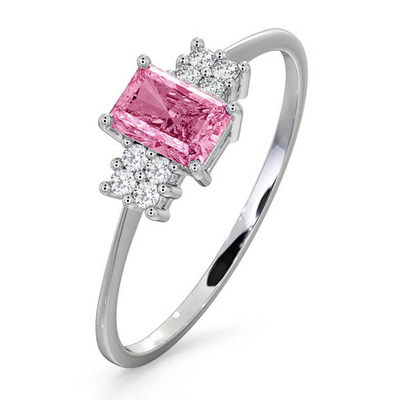 18K White Gold Diamond and Pink Sapphire Ring 0.06ct