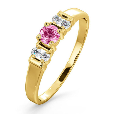 Pink Sapphire And Diamond Ring 9K Yellow Gold