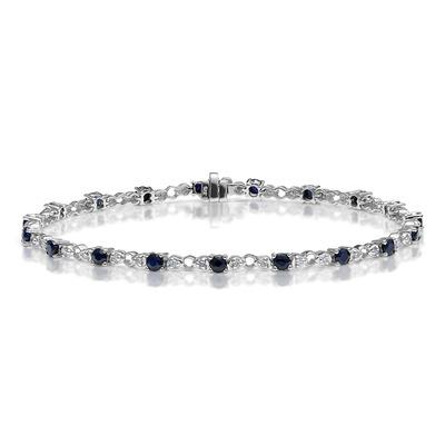 9K White Gold Diamond and Sapphire Claw Set Link Bracelet