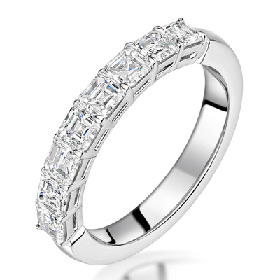 Simone Diamond Eternity Ring Asscher Cut 1.92ct VVs Platinum O-W