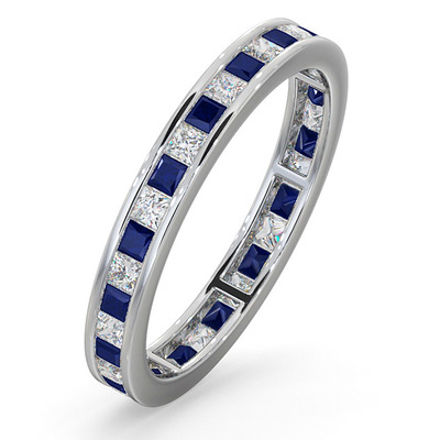 Eternity Ring Lauren Diamonds G/VS and Sapphire 1.20CT -18K White Gold