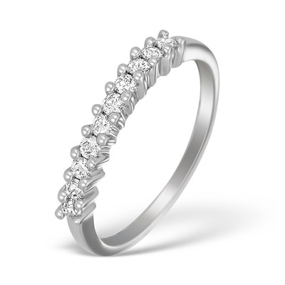 18K White Gold Diamond Brilliant Half Eternity Ring - N3636