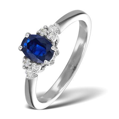 Sapphire 1.00ct And Diamond 18K White Gold Ring