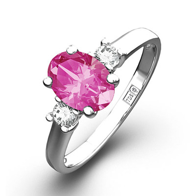 18K White Gold Diamond AAA Pink Sapphire 0.85CT Ring