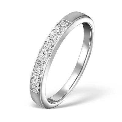 Half Eternity Ring 0.05CT Diamond 9K White Gold