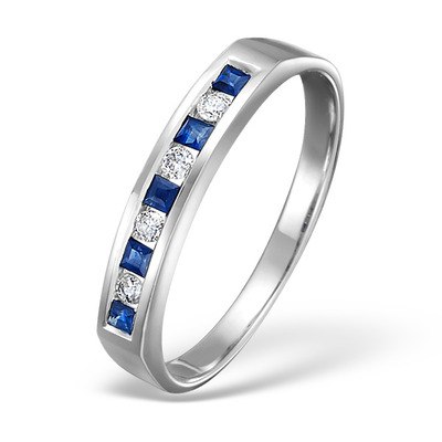 Sapphire And Diamond 9K White Gold Ring -Size R