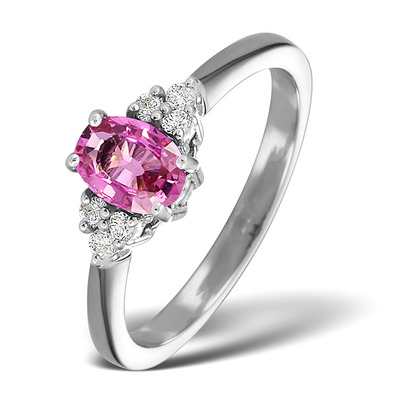 18K White Gold 0.85CT Pink Sapphire And 0.12CT Diamond Ring