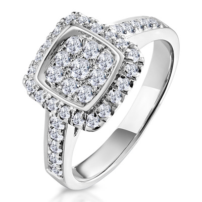 Diamond Halo Pave Ring 0.70ct H/Si Quality in 18K White Gold