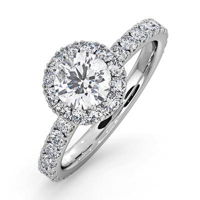 Alessandra GIA Diamond Engagement  Ring Platinum 1.35CT G/SI2