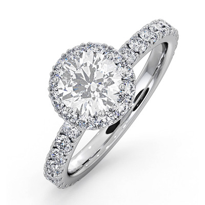 Alessandra GIA Diamond Engagement  Ring Platinum 1.60CT G/SI2