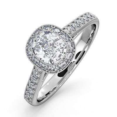 Danielle GIA Diamond Engagement Side Stone Ring Platinum 1.25CT G/SI2