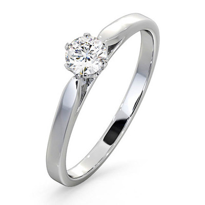 Engagement Ring Certified Low Set Chloe 18K White Gold Diamond 0.33CT