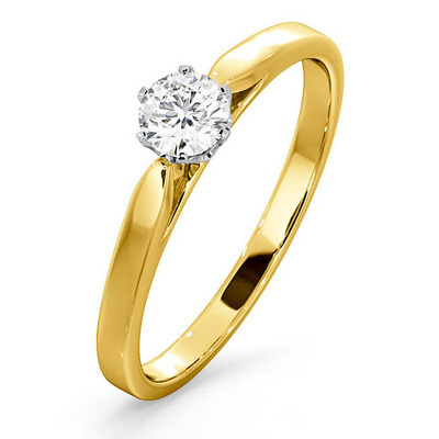 Certified Low Set Chloe 18K Gold Diamond Engagement Ring 0.33CT
