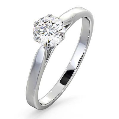 Certified 0.70CT Chloe Low Platinum Engagement Ring E/VS1