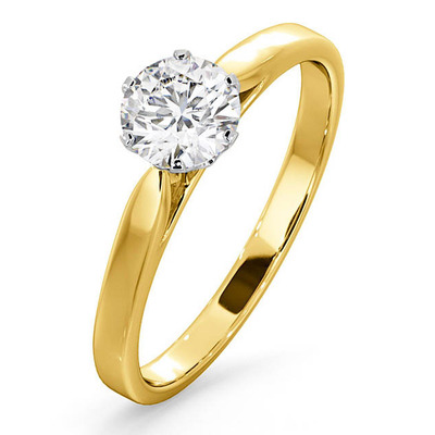 Certified Low Set Chloe 18K Gold Diamond Engagement Ring 0.75CT