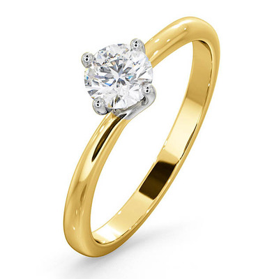 Certified 0.50CT Lily 18K Gold Engagement Ring G/SI1