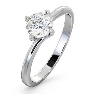 Certified Lily 18KW DIAMOND SOLITAIRE Engagement Ring 0.75CT