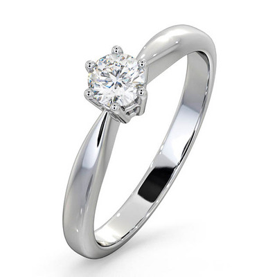 Certified High Set Chloe 18K White Gold Diamond Engagement Ring 0.33CT