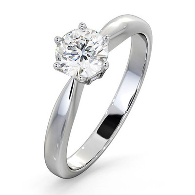 Certified High Set Chloe 18KW DIAMOND Engagement Ring 0.75CT