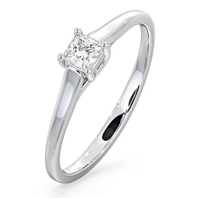 Engagement Ring Certified Lucy 18K White Gold Diamond 0.25CT-F-G/VS