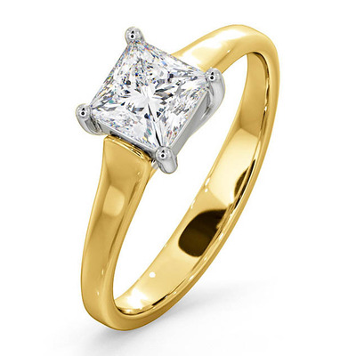 Certified Lucy 18K Gold Diamond Engagement Ring 0.75CT-G-H/SI