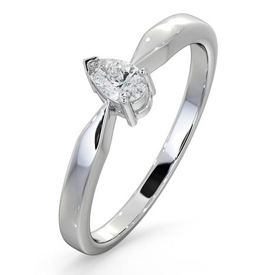 Certified Pear Shaped Platinum Diamond Engagement Ring 0.25CT-H/Si