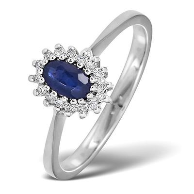 Sapphire 5 x 3mm And Diamond 18K White Ring