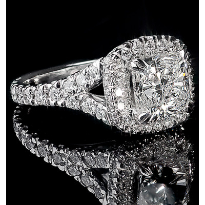 Halo Engagement Ring Hannah 3.02ct Diamonds GIA Certified in Platinum