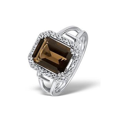 Smokey Quartz 3.28ct And Diamond 9K White Gold Ring