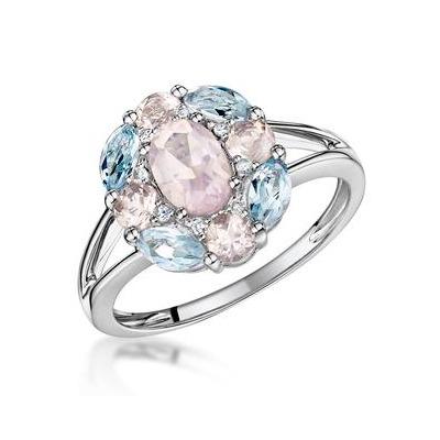 Rose Quartz Blue Topaz and Diamond Stellato Ring in 9K White Gold