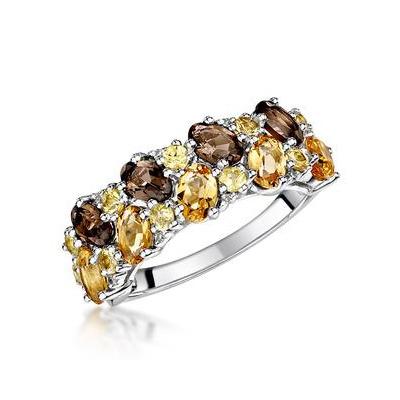 Citrine Smokey Quartz Sapphire and Diamond Stellato Ring 9K White Gold
